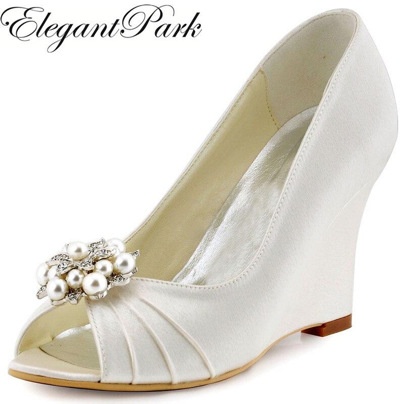 Women Wedges High Heel Navy Blue Ivory Wedding Bridal