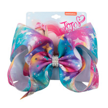 8 Large Party Bow With Hair For Girls Handmade Printed Cartoon Bows Rainbow Horse Rhinestone Accessories