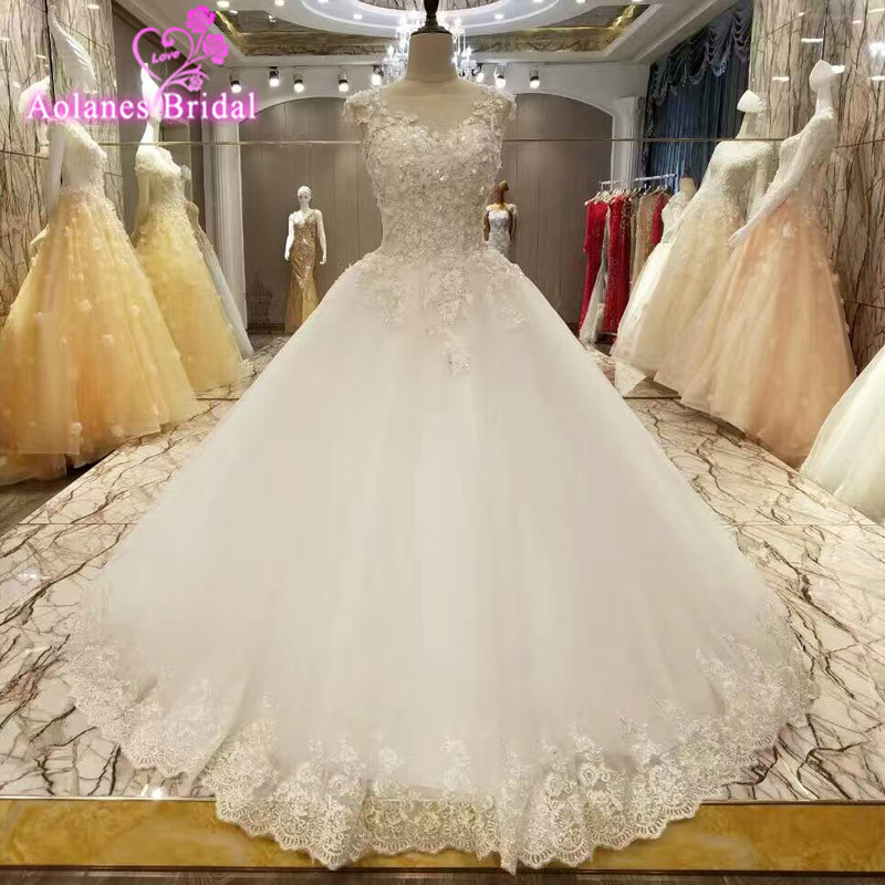 Vestido De Noiva 2017 New Elegant Lace Applique Tulle: Aliexpress.com : Buy Real Photo Elegant Ball Gown Lace