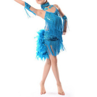 NEW Children Kids Sequin Feather Fringe Stage Performance Competition Ballroom Dance Costume Latin Dance Dress For