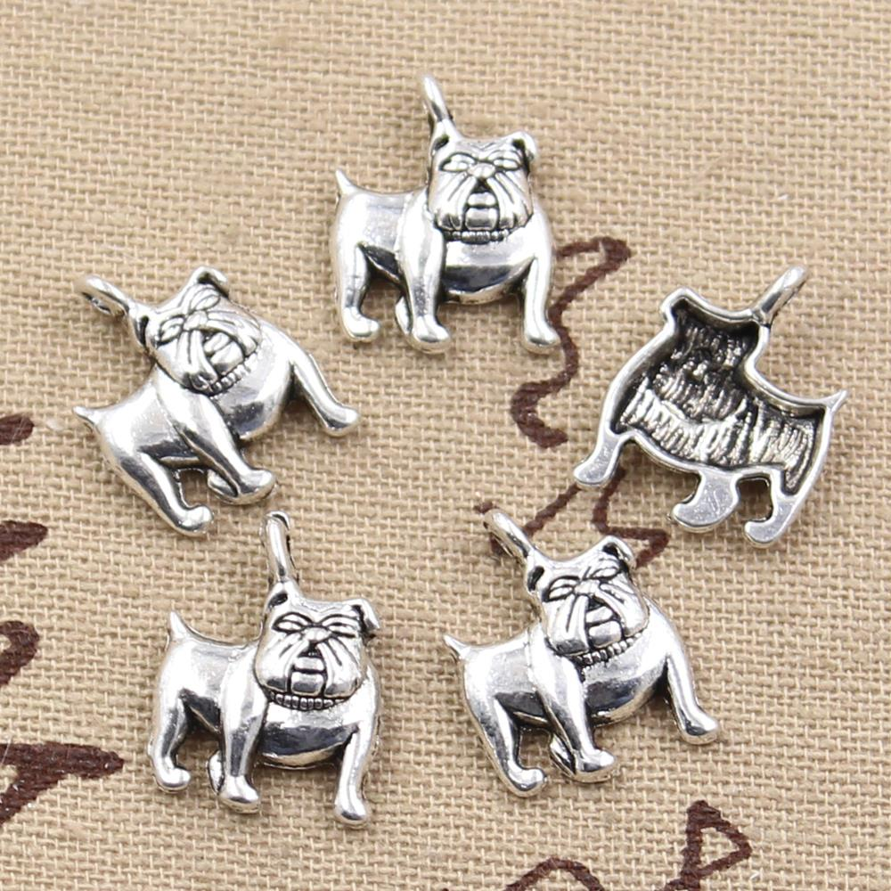 12pcs Charms Dog Pug Bulldog 17x13mm Antique Making Pendant Fit,Vintage Tibetan Silver Bronze,DIY Handmade Jewelry