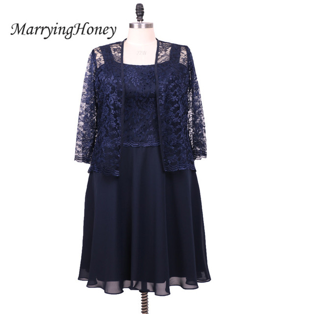 2017 Real Photo Azul Marinho Mãe dos Vestidos de Noiva com Jaqueta de Renda Curto Chiffon Vestido Formal Vestidos de Festa de Casamento Vestidos