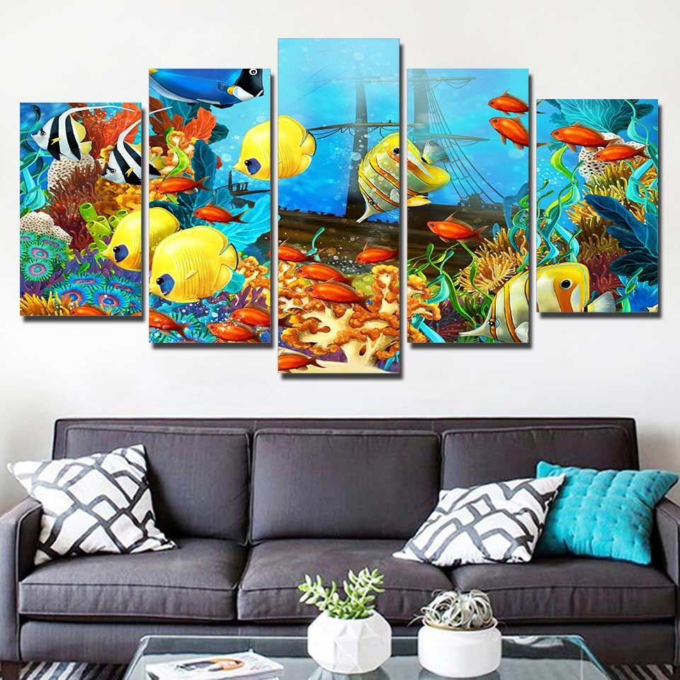 Canvas Pictures Home Decor Living Room Wall Art 5 Pieces