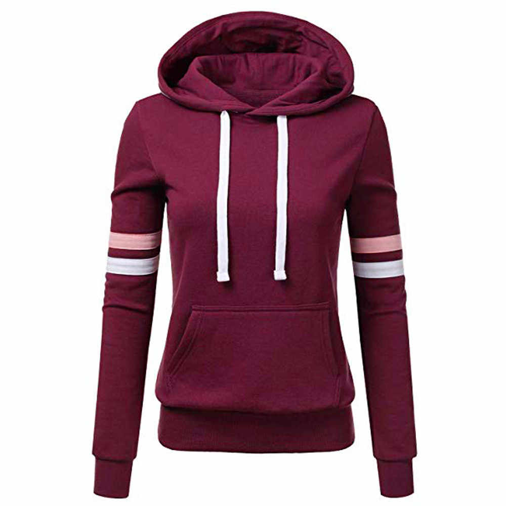 Womail hoodie Sweatshirts ladies women's hoodies  Women Stripe Long Sleeve Blouse Hooded Pocket Pullover Tops Shirt D300721