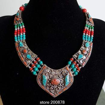 TNL151  Master Design Nepal Indian brass inlaid Stone coral pendant necklace Multi Statements Big Pendants BOHO Necklace
