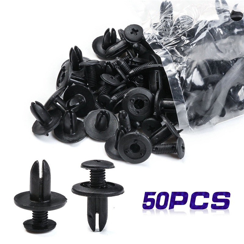 50 PCS Plastic Rivet Black Plastic Automobile Rivet Car Clip Screw Car Body Push Fasteners Trim For Universal Vehicles car plastic rivets fender fasteners clip black 100 pcs