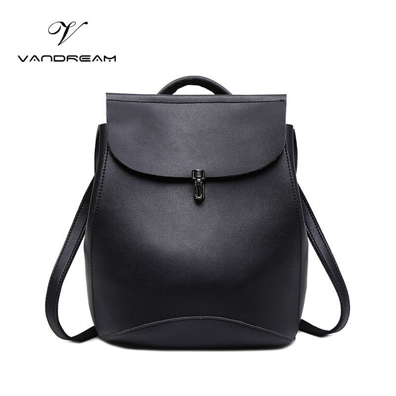 2017 High Quality Fashion Women Backpack PU Leather Solid Black Brown School Bag Teenagers Girls Top