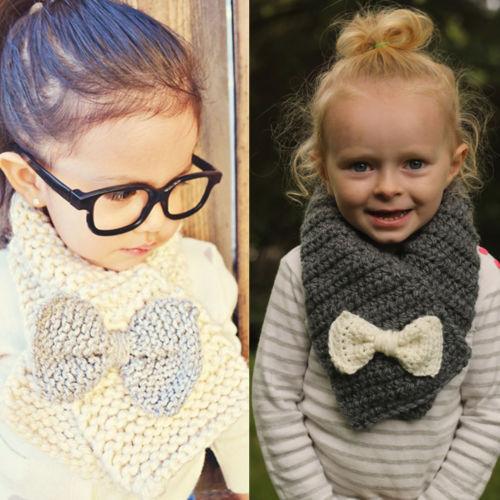 Fashion Winter Warm Kids Children Bow-tie Decor Knot Knitted Wool Scarves