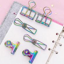 3Pcs Creative Gradient Laser Colored Clip Hollow Metal Binder Clip Notes Paper Clip Kawaii Clamp for Girl Nice Office Stationery