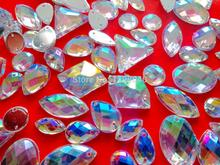 Wholesale mixed loading Different shapes and sizes 250pcs clear AB colour Acryl crystal rhinestones accessory gemstone beads
