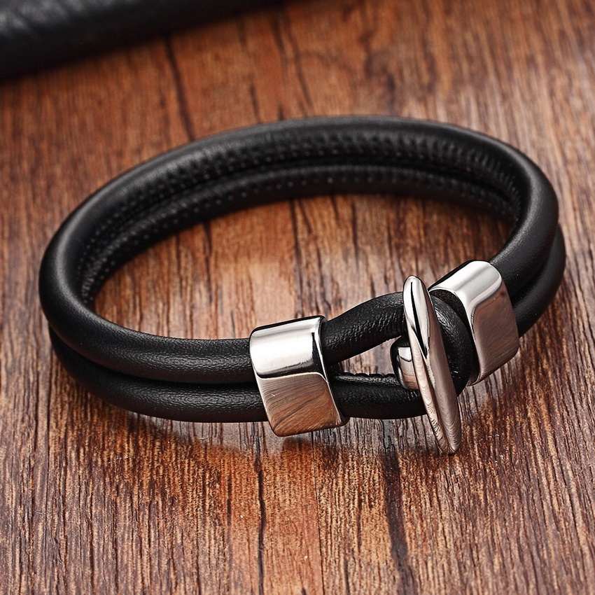 2017 Stainless Steel Chain Bracelets Men Genuine Leather Bracelets Black Color Leather Bracelet for women with Toggle-clasps
