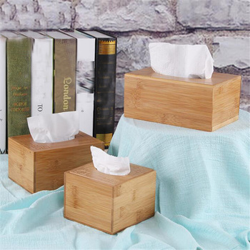 Fashion Style Bamboo Square Tissue Box Creative Seat Type Roll Storage Paper Box Tissue Canister Eco-Friendly Wood Table Decor 1