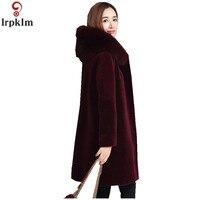 Женская Шуба из овчины, зимняя Длинная шерстяная Меховая куртка с лисьим меховым воротником, пальто с капюшоном для женщин, большие размеры