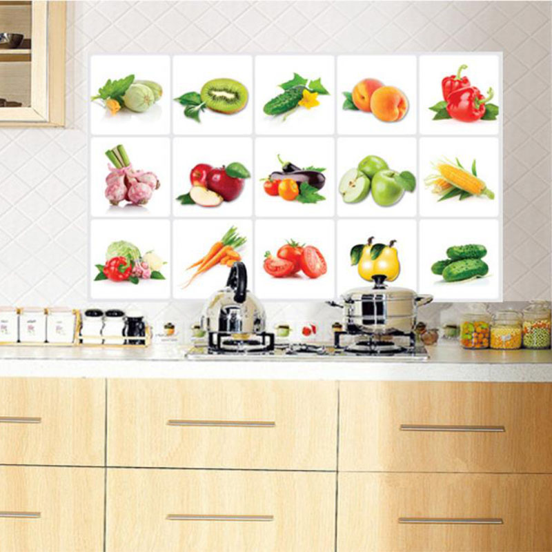 2018 New 3d Diy Vinyl Oil Proof Kitchen Wall Stickers Vegetable