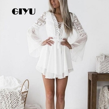 GIYU Women Flare Long Sleeve Dress Chiffon Dresses Lace Hollow Vestido Sexy Patchwork Empire Drawstring robe femme giyu summer flower printing women long chiffon dress holiday bohemia dresses long sleeve vestido sexy high waist robe femme