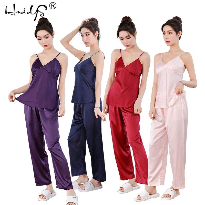 Sexy Women's Pyjamas 2019 Women   Pajamas     Set   Two Pieces Sleepwear Satin Silk Lingerie Homewear Pyjamas   Set   Pijamas For Woman