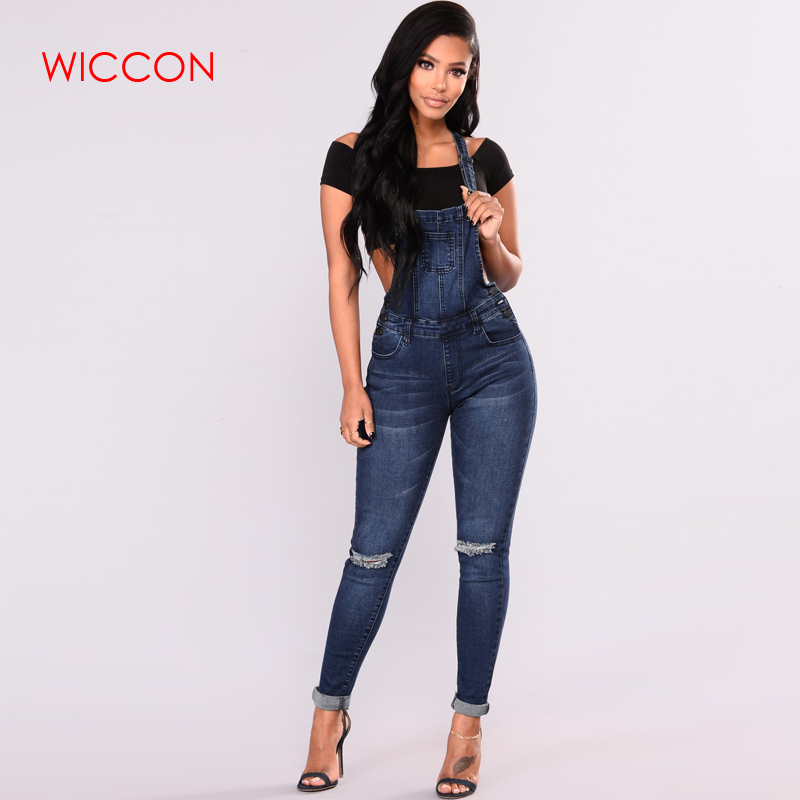 38f20ec964a0 Women Sleeveless Holes Destroyed Baggy Denim Jumpsuit Romper Button Full  Length Ripped Cowby Pencil Jeans Overall Jumpsuit Pants-in Jeans from  Women s ...