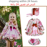 Baby Frocks Girl Long Sleeve Floral Dress Wedding Party Dresses Kids Spanish Boutique Clothes Children's Wedding Birthday Gowns