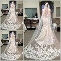 Brilliant Lace Appliqued vestidos de Casamento Catedral Véu De Noiva Véus Branco Marfim Cores Acessórios Do Casamento