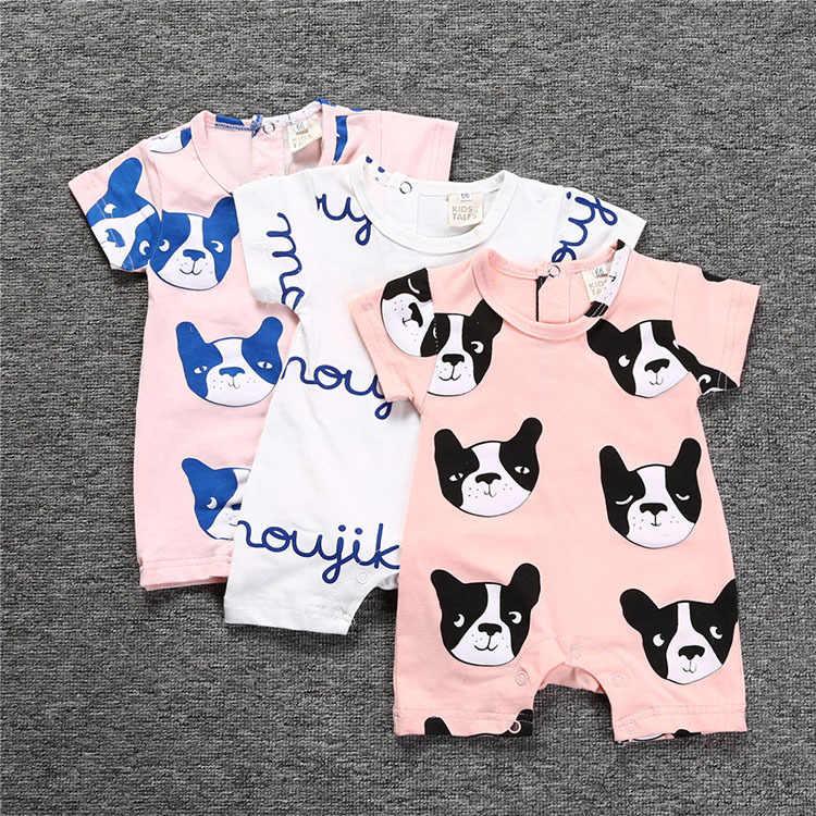 Мода мультфильм одежда для младенцев детский комбинезончик летом с коротким рукавом милая собака один Костюм из нескольких предметов комбинезон Новорожденные мальчик одежда для девочек