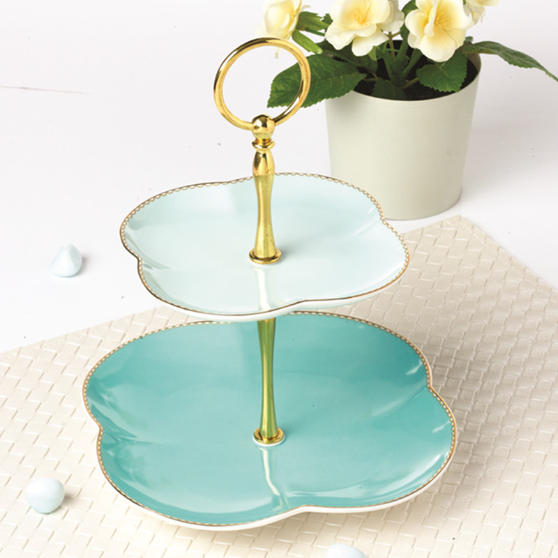 Creative Lucky Leaf Shape Pink Light Blue Ceramic Double Layer Fruit Tray Afternoon Tea Pastry Pie Gold Plated Shelf Cake Plate