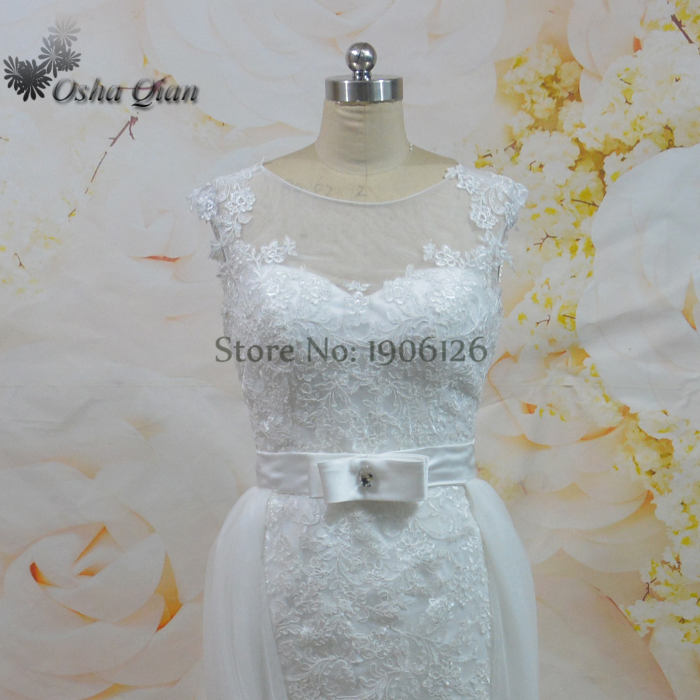 Hot Sell Champagne Detachable Skirt Wedding Dress Lace Mermaid ...