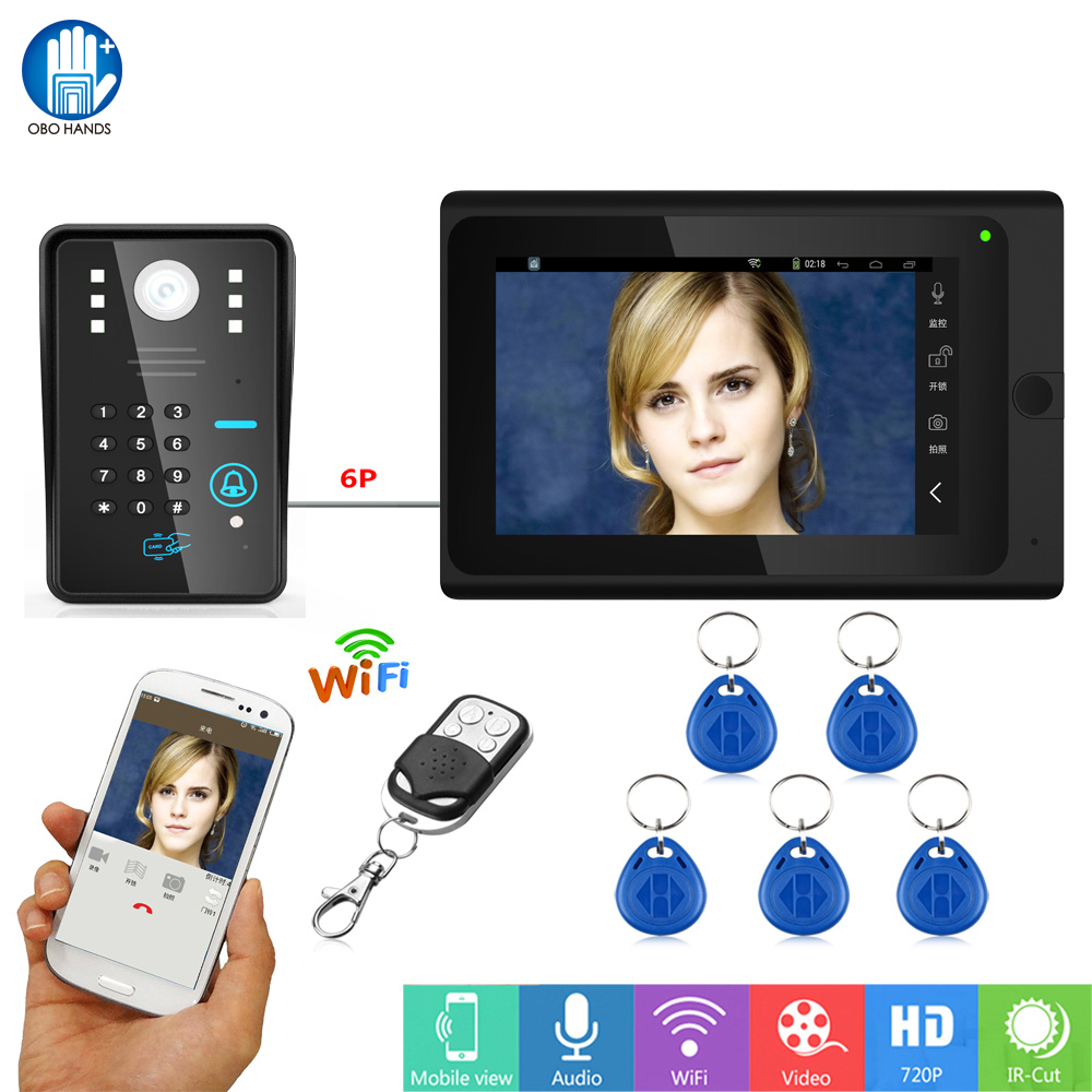 7'' Wifi Video Door Phone Intercom System Video Door Bell with IR Camera + Remote Control+5pcs RFID Keyfobs Cards for Home Safe 7 inch password id card video door phone home access control system wired video intercome door bell