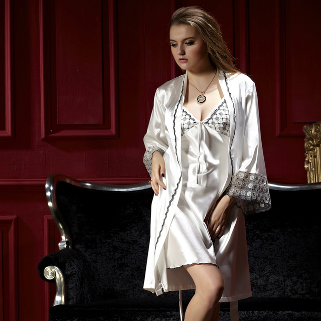 XIFENNI Brand Women Bathrobes Imitation Silk Two-Piece Robe Sets Noble White Nightdress Full Sleeve Satin Silk Nightgowns 8201
