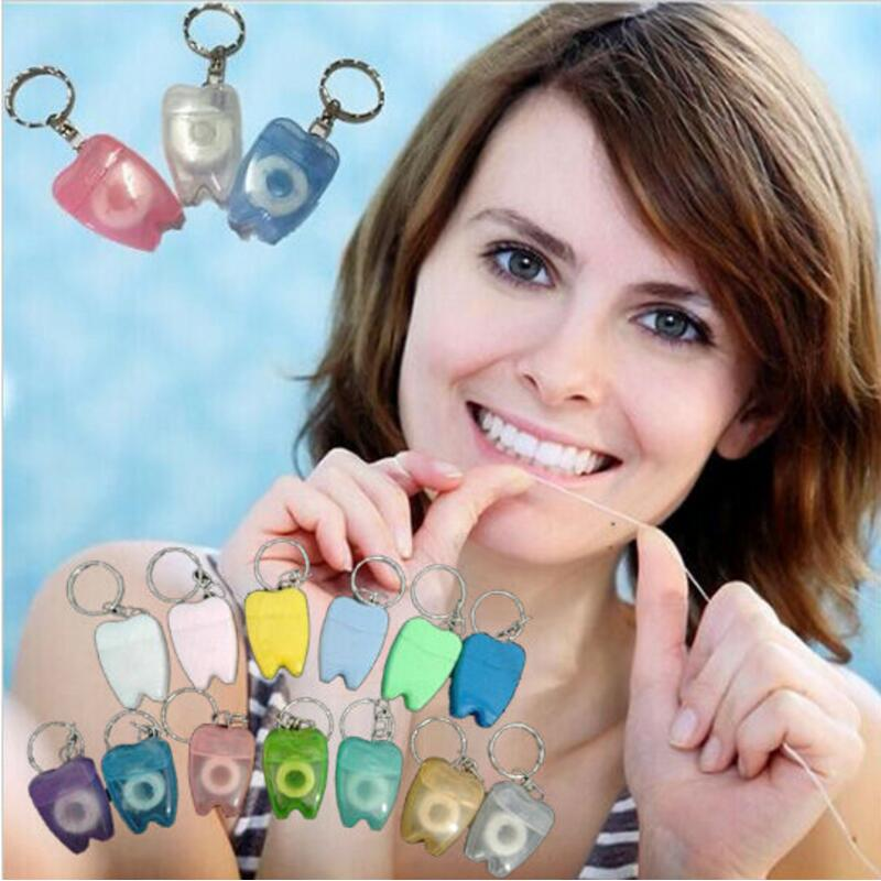 50pcs 15M Micro Wax Teeth Shape Dental Flosser Key Chain Interdental Brush Teeth Stick Toothpicks Floss Pick Oral Hygiene Wire