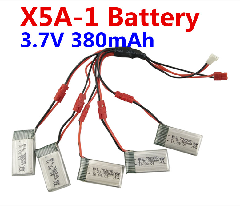 5PCS <font><b>3.7V</b></font> <font><b>380mah</b></font> <font><b>LiPo</b></font> <font><b>battery</b></font> + 2 for 5 transfer Conversion Kit line for SYMA X5A-1 Quadcopter RC Helicopter image