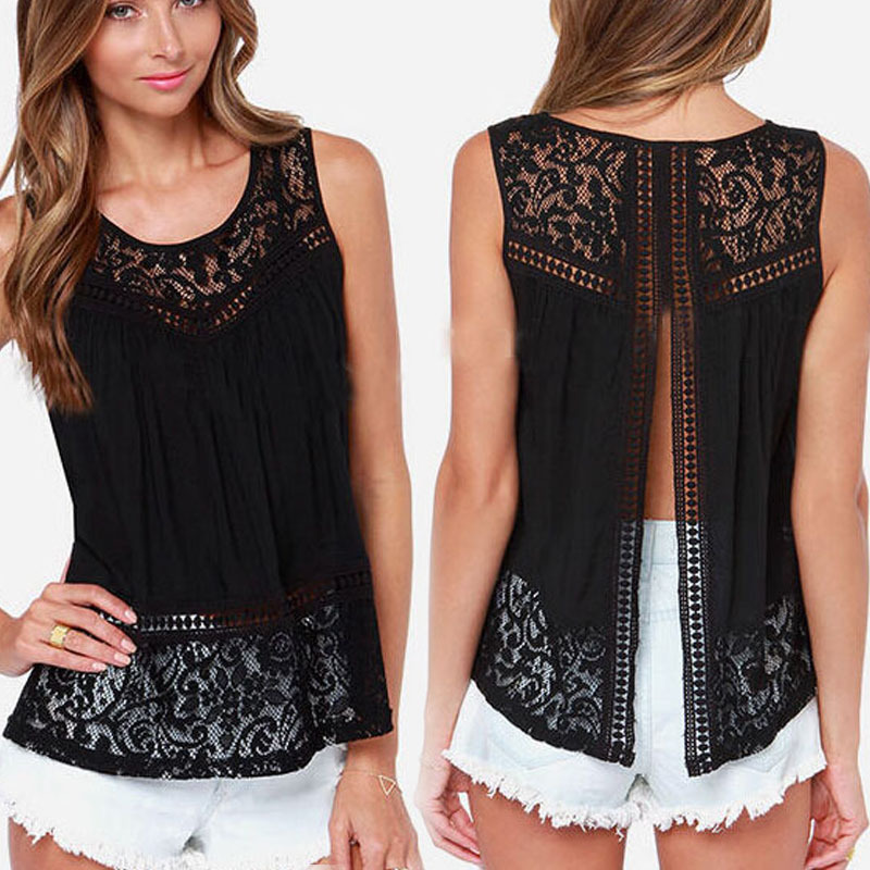 AQ117 Sexy Open Back Sleeveless Summer   Blouses     Shirts   Women See Through Lace Chiffon Tops Blusas Femininas
