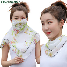 Hot Sale New Spring Summer Silk Scarf Women Earmuff Mask Neck protection Sunscreen Anti-UV Women Scarf Mask for Outdoor Riding
