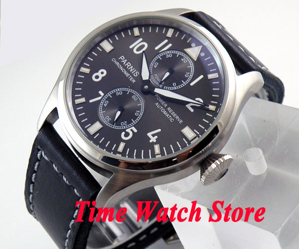 Parnis 47mm  dial luminous power reserve black leather strap ST2542 Automatic Self-Wind movement Mens watch 273Parnis 47mm  dial luminous power reserve black leather strap ST2542 Automatic Self-Wind movement Mens watch 273