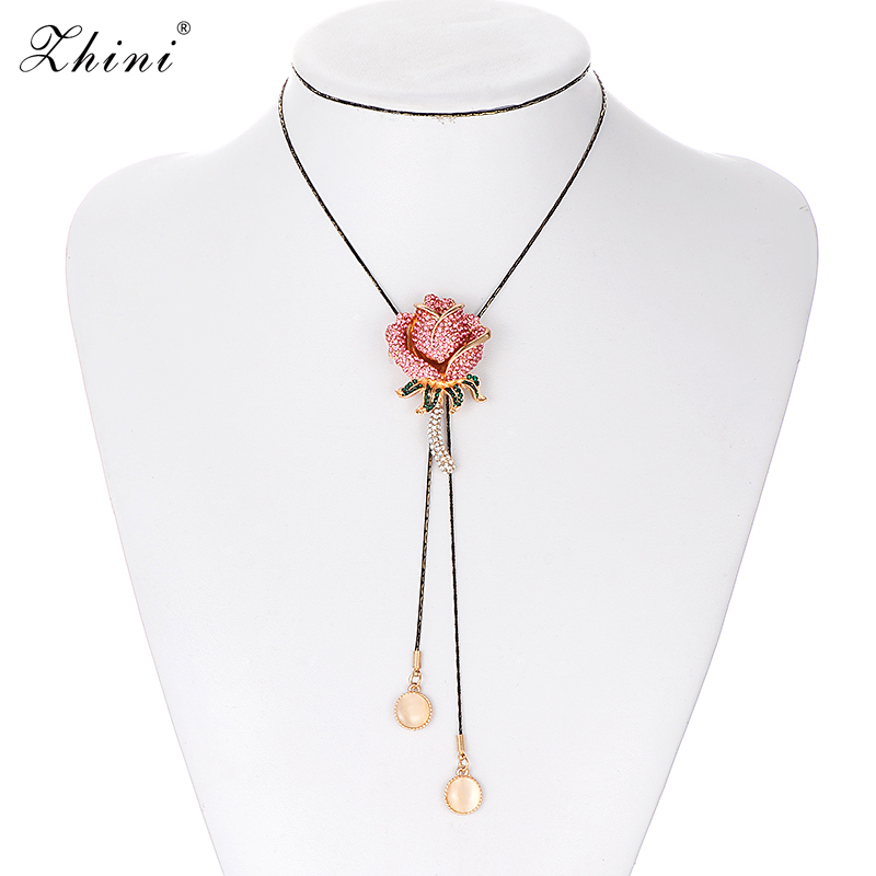 ZHINI New Special Wedding Maxi Necklace Enamel Rose Necklaces & Pendants Romantic Flower European Style Jewellry Gifts for Women