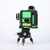 3D 12 линий зеленый лазерный уровень Мощный лазерный луч 12 линия автоматический самонивелирующийся 360 горизонтальный и вертикальный крест
