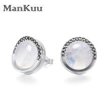 AAA+ Lapis Lazuli/Turquoise/Moonstone Stud Earrings 925 Sterling Silver Stud Earrings Luxury Natural Gemstone Earrings For Women