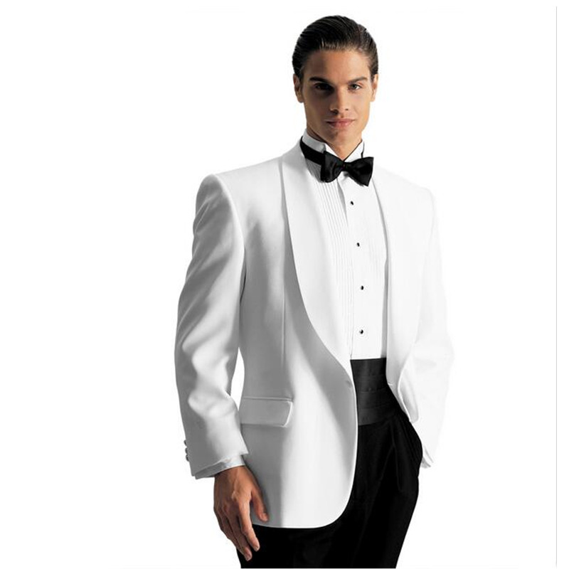 custom ivory mens wedding suits for men white tuxedos notched Shawl collar mens suits slim fit grooms wedding suits (Jacket+Pant