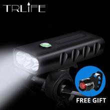 ไฟฉาย LED 2/3 * T6 จักรยาน 5200mAh แบตเตอรี่ชาร์จ USB ด้านหน้าไฟฉายไฟท้ายของขวัญ