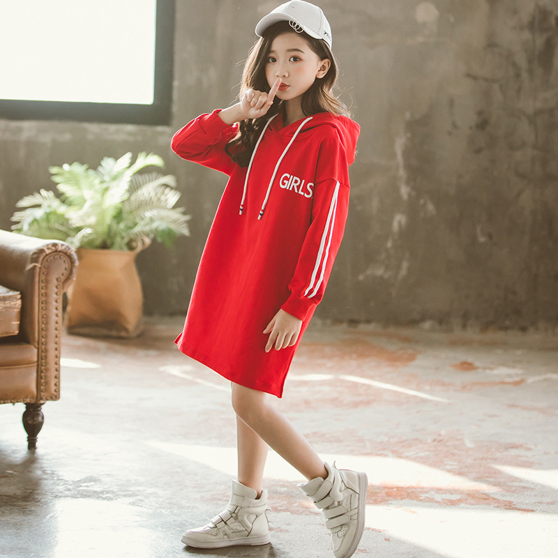 4 14years 2019 Spring and Autumn New Children 39 s Clothing Girls Long Hooded T Shirt Children 39 s T shirt in Hoodies amp Sweatshirts from Mother amp Kids