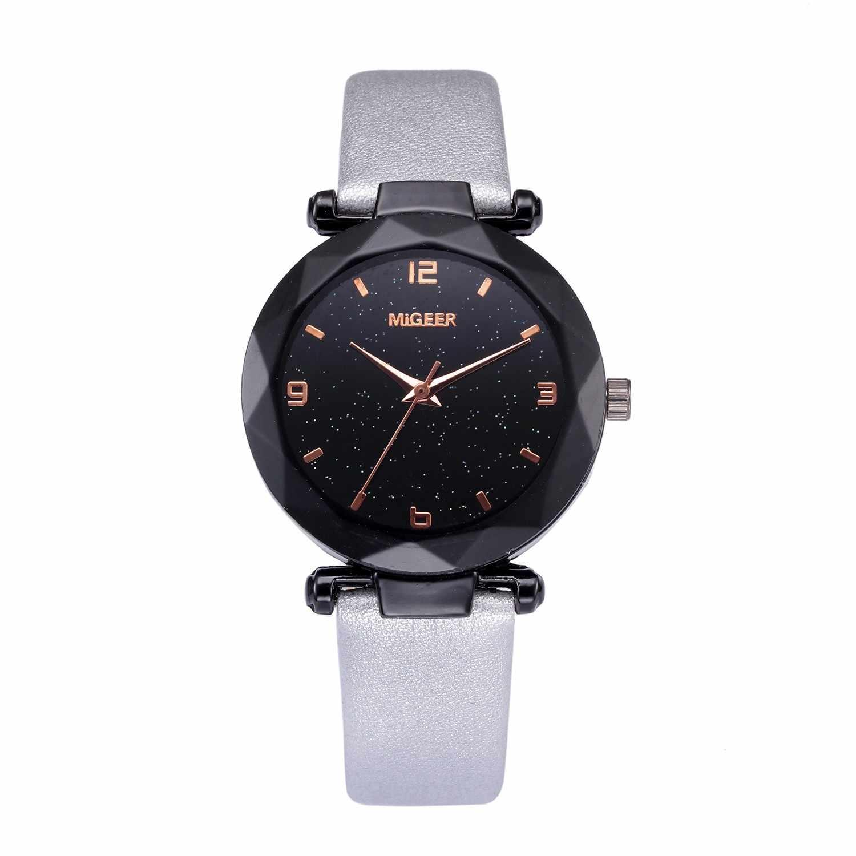 أزياء الكوارتز السيدات محدب الزجاج ساعات جلد عالية الجودة ساعة اليد الملونة السماء relojes الفقرة موهير ساعة حائط 50