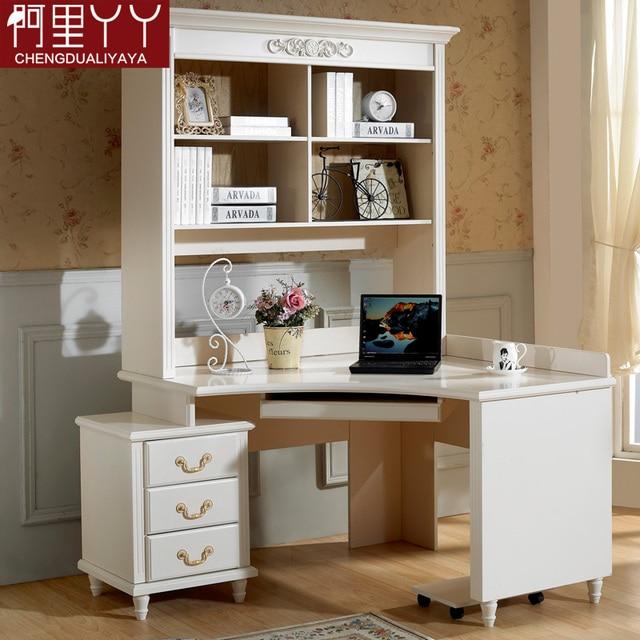 Free Shipping Furniture Corner Computer Desk Rustic Bookshelf Bookcase Combination Of Study Table