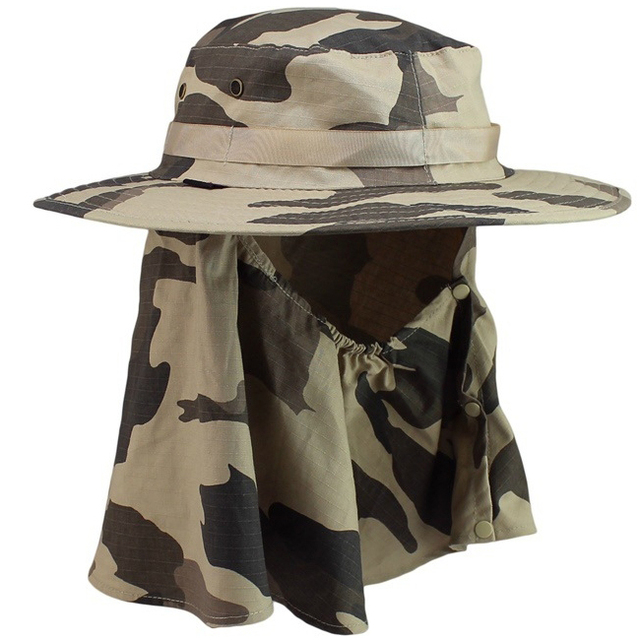 2e4d989bac2ca5 Outdoor Men Summer Large Round Brim Hat Neck Face Cover Climbing Fishing UV  Protection Bucket Hats