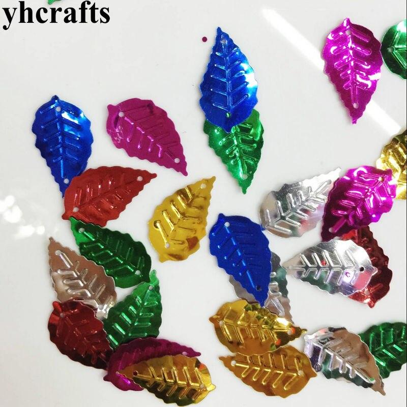 20gram/Lot 13x25mm Leaf With Hole Sequin Craft Material Kindergarten Crafts Intelligence Creative Activity Item Kids Handy Work