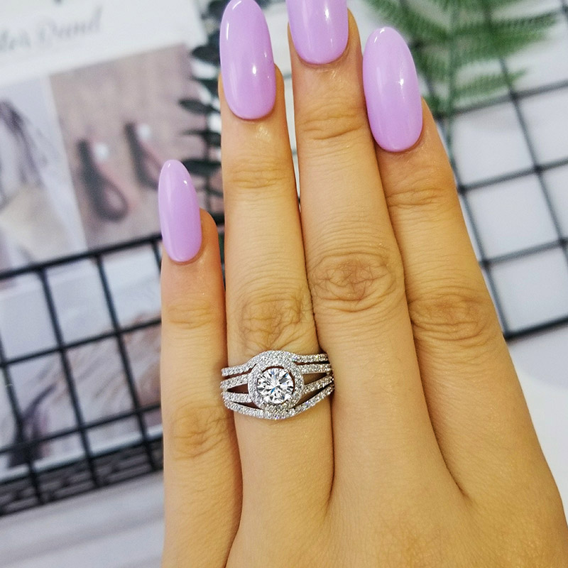Moonso 925 Sterling Silver rings set pair band 3 pieces Ring sets for women Genuine wedding