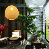 Simple garden living room staircase lamp pendant lamp bamboo dining room lamp tea house hotel lobby pendant lights AP8211606