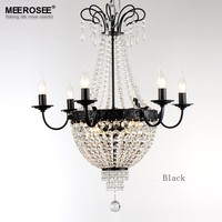 French Empire Crystal Chandelier Light Fixture Vintage Crystal Lighting Wrought Iron White Chrome Black color