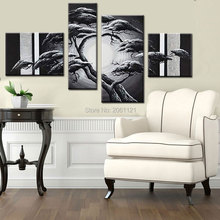 hand made home decorative canvas painting gray black silver landscape oil tree wall pictures for living room 4p128