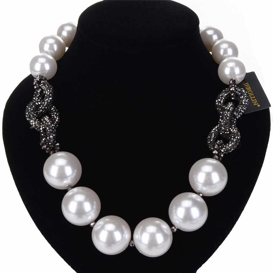 Big Round White Pearl Black Rhinestones Women Necklace Fashion Jewelry Party Beads Necklace Chain kolye collares collier