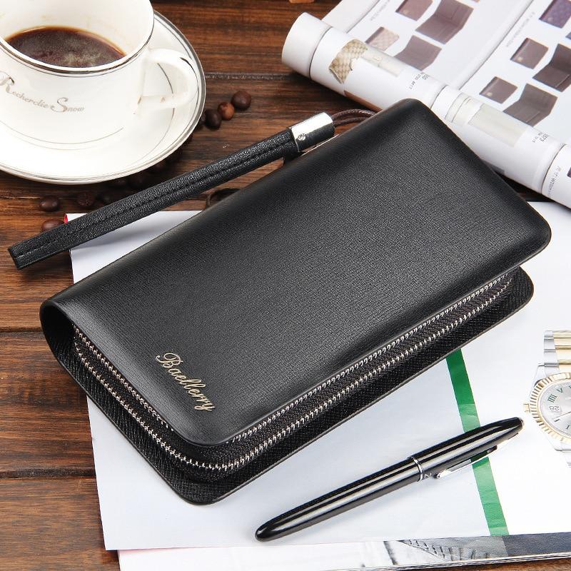 1 Pc/ Pu Leather Men Wallets Business Brand Card Holder Coin Purse Mens Long Zipper Wallet Leather Clutch Carteira Masculina