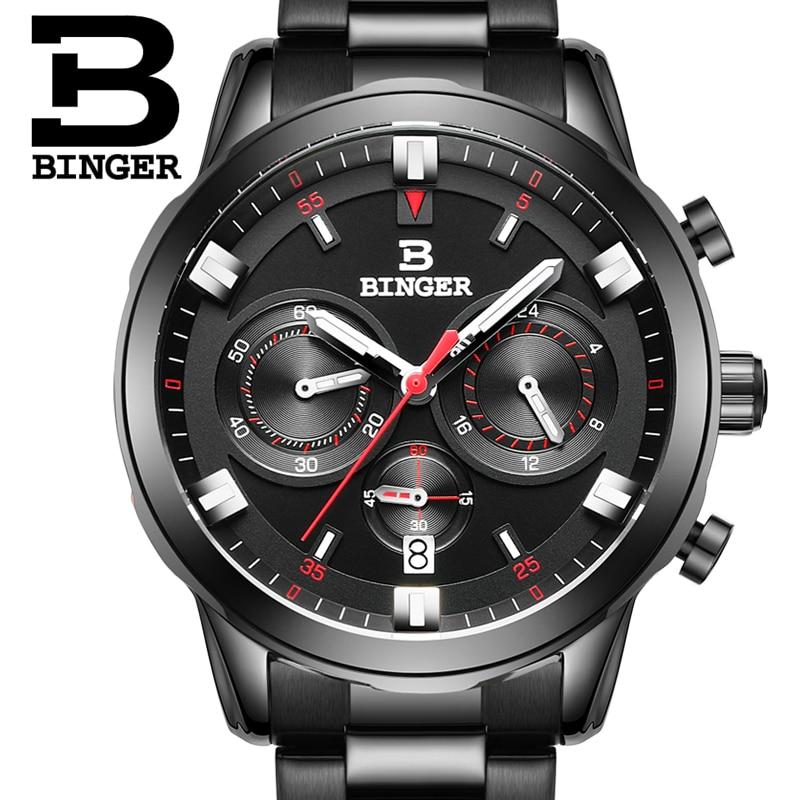 2017 New Watch Chronograph meeste sportlikud sõjaväe käekellad BINGER brändi roostevabast terasest kvartskellad veekindlad B-9011G